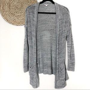 Gap | XS Gray Open Weave Knit Cardigan Sweater